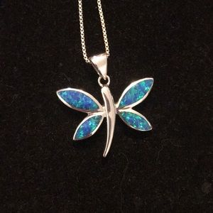 Blue opal dragonfly necklace 925